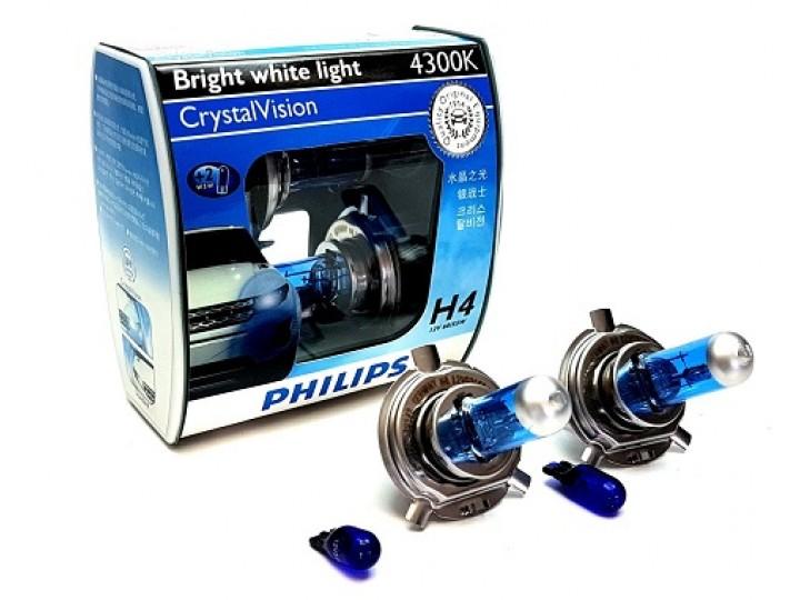H4 Philips 55/60W 12V 4300K Cryastal / Крушки Филипс кристал Х4 и В5В 4300К