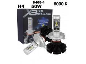 H4 X3 LED / Лед крушка Х4 Х3 12-24 Волта 50 Вата